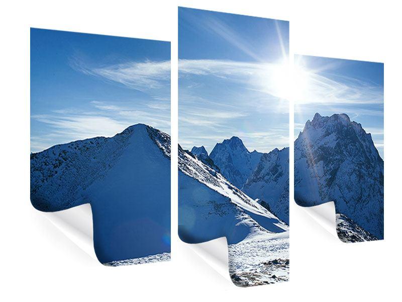 Poster 3-teilig modern Der Berg im Schnee