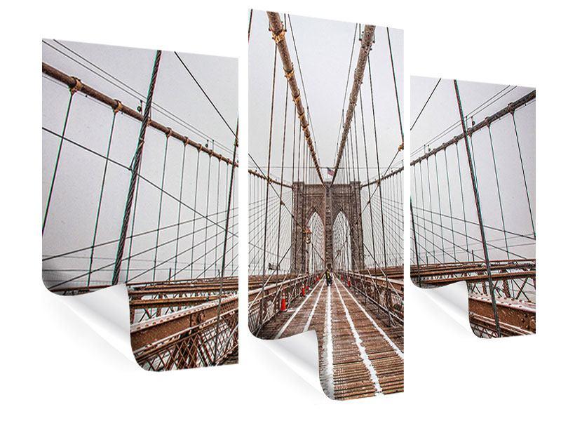 Poster 3-teilig modern Auf der Brooklyn Bridge