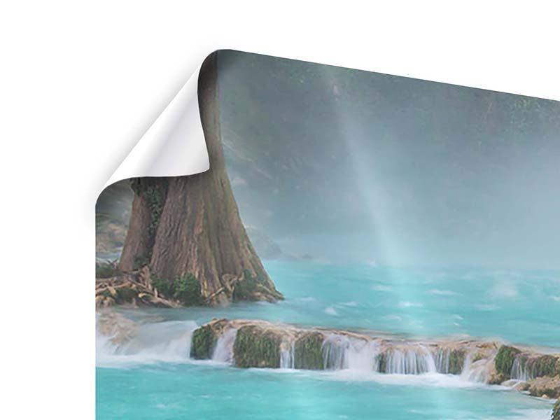Poster 3-teilig modern Haus am Wasserfall
