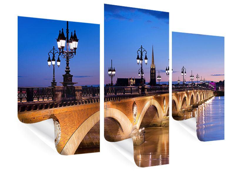 Poster 3-teilig modern Pont De Pierre bei Sonnenuntergang