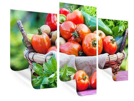 Poster 3-teilig modern Gemüsekorb
