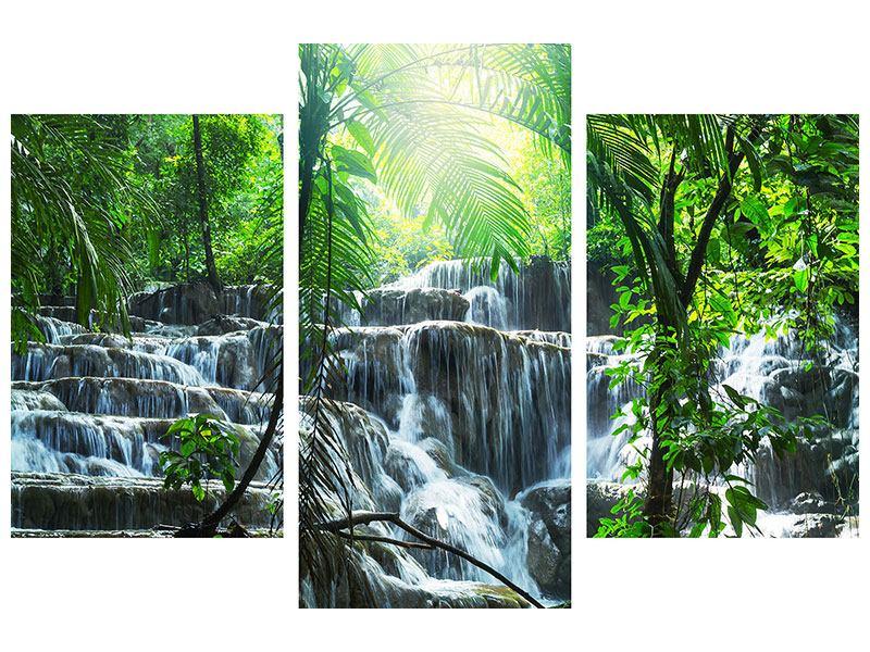 Poster 3-teilig modern Wasserfall Agua Azul