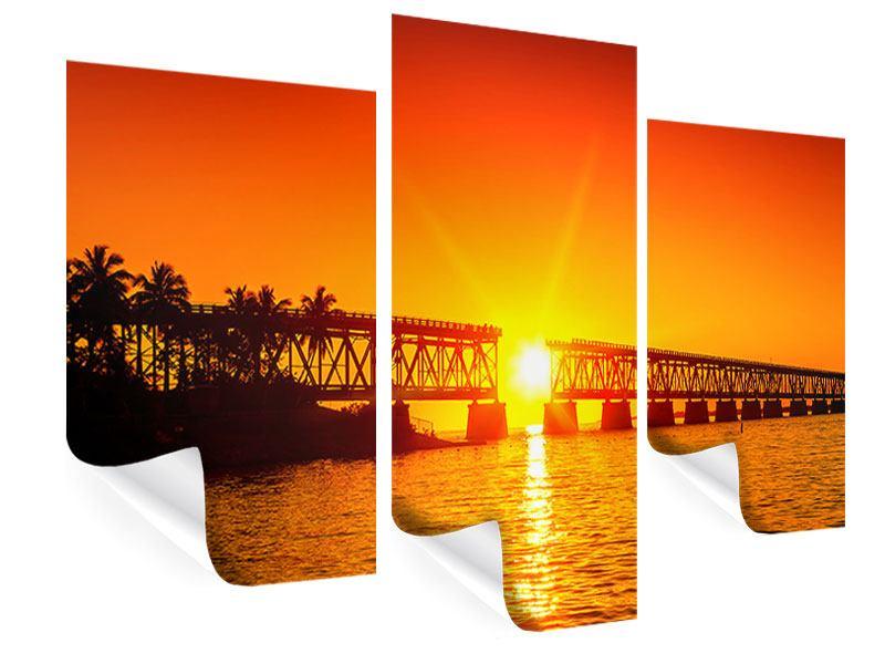 Poster 3-teilig modern Sonnenuntergang an der Brücke