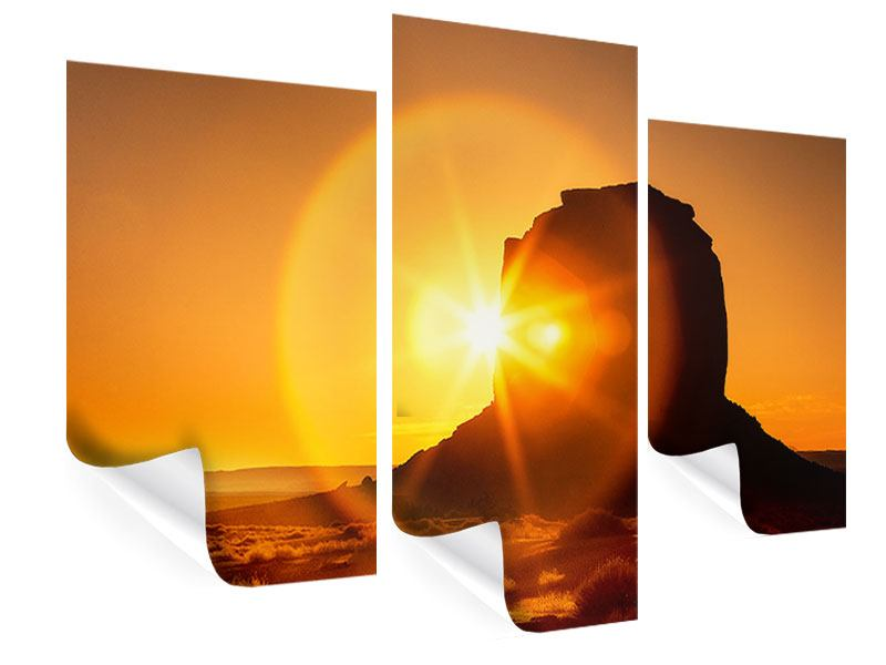 Poster 3-teilig modern Sonnenuntergang Monument Valley
