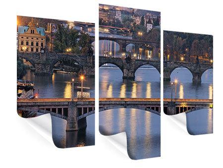 Poster 3-teilig modern Brücken in Prag