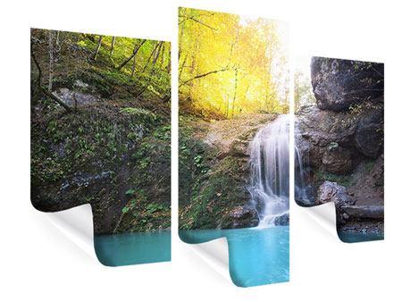 Poster 3-teilig modern Fliessender Wasserfall