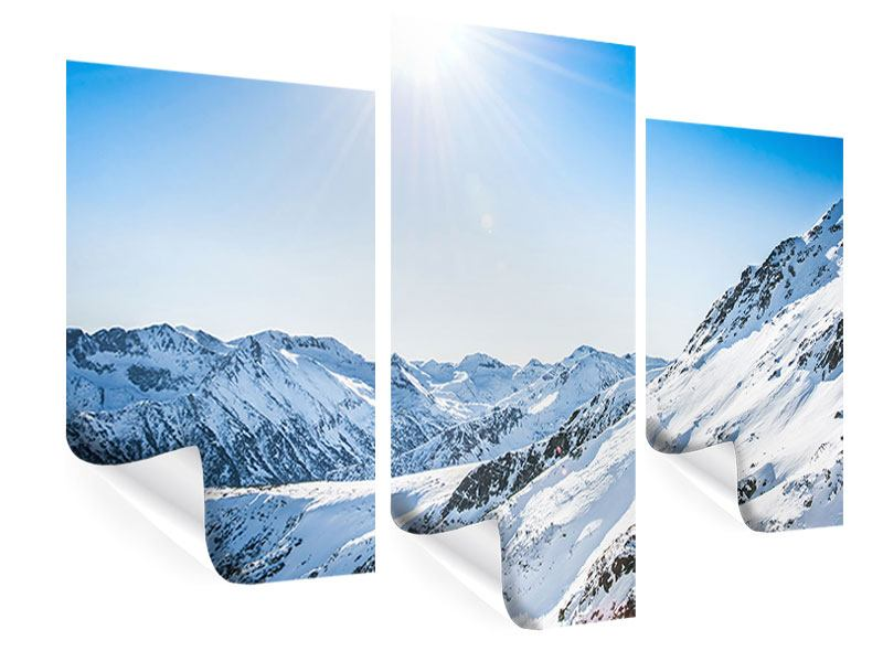 Poster 3-teilig modern Bergpanorama im Schnee
