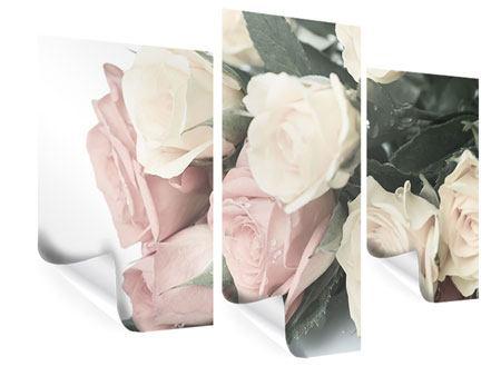 Poster 3-teilig modern Rosenromantik
