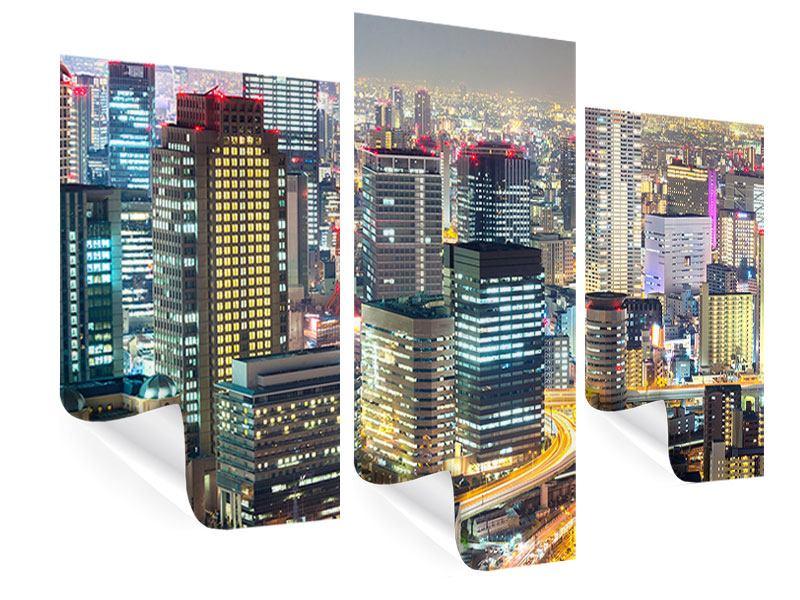 Poster 3-teilig modern Skyline Osaka im Lichtermeer