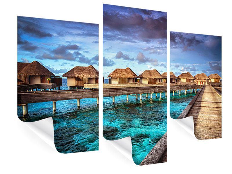 Poster 3-teilig modern Traumhaus im Wasser