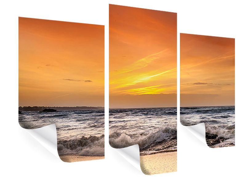 Poster 3-teilig modern See mit Sonnenuntergang