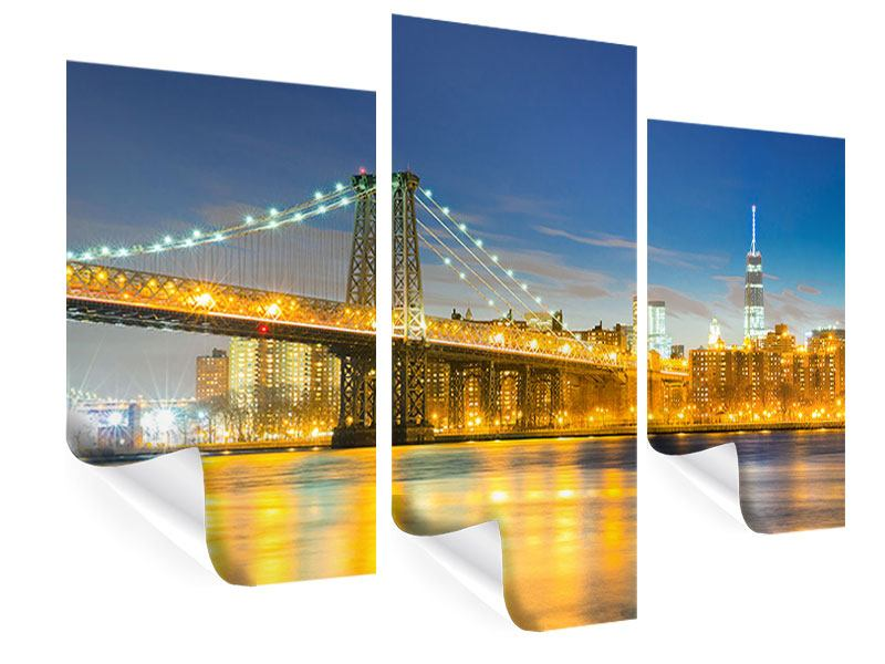 Poster 3-teilig modern Brooklyn Bridge bei Nacht