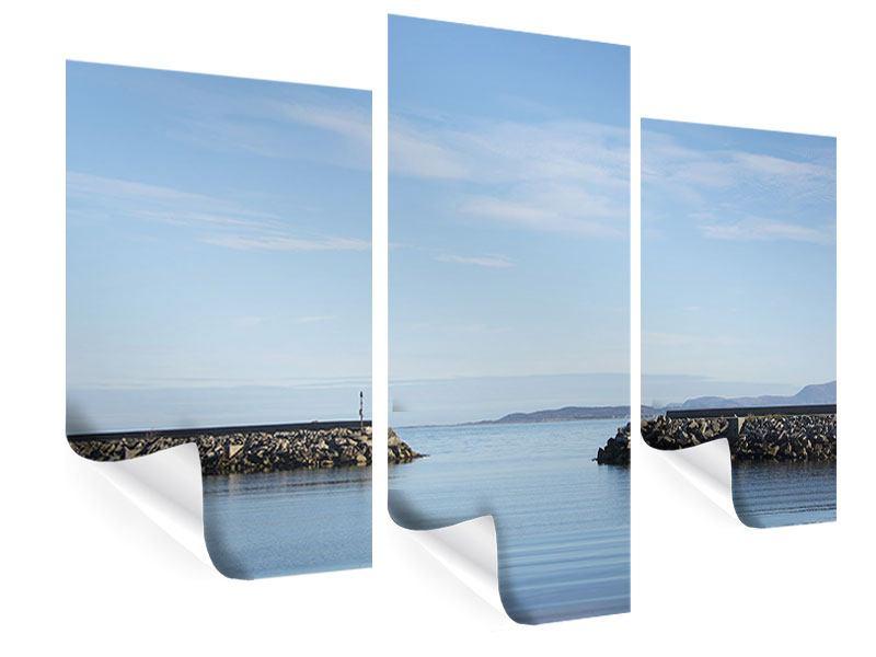 Poster 3-teilig modern Hafenmauern