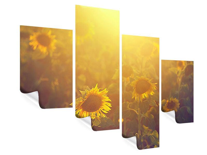 Poster 4-teilig modern Sonnenblumen im goldenen Licht