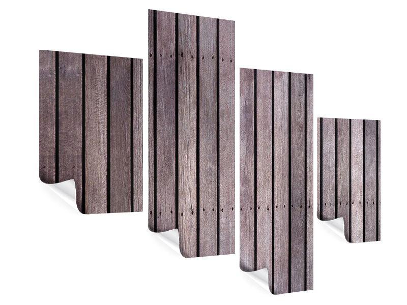 Poster 4-teilig modern Holzwand