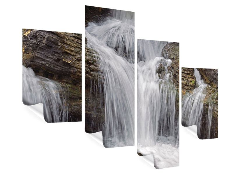 Poster 4-teilig modern Wasserfall XXL