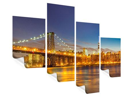 Poster 4-teilig modern Skyline NY Williamsburg Bridge