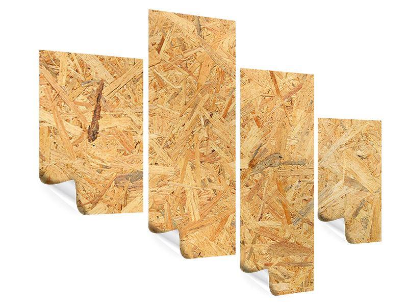 Poster 4-teilig modern Gepresstes Holz