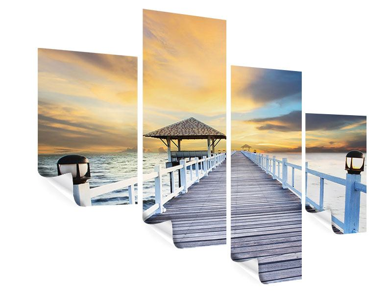 Poster 4-teilig modern Die Brücke ins Meer