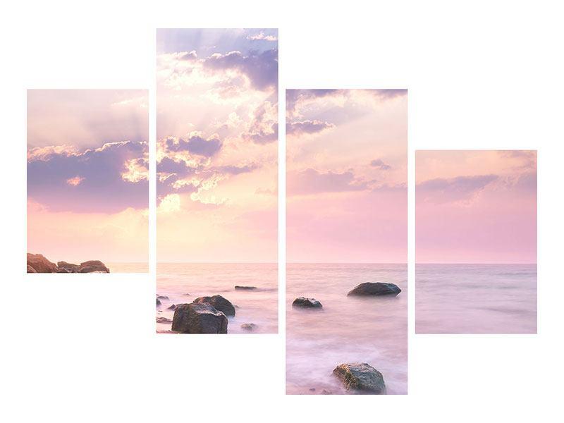 Poster 4-teilig modern Sonnenaufgang am Meer