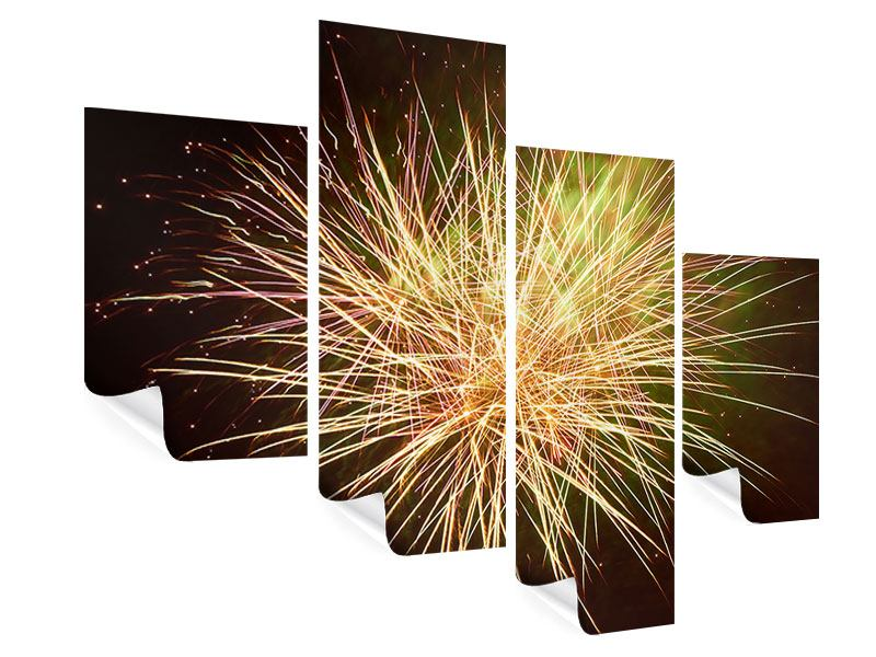 Poster 4-teilig modern Feuerwerk XXL