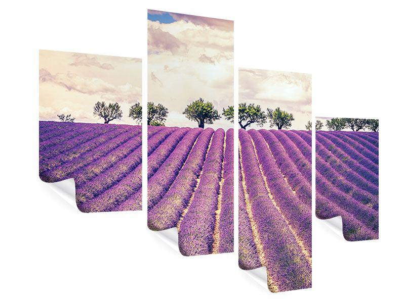 Poster 4-teilig modern Das Lavendelfeld