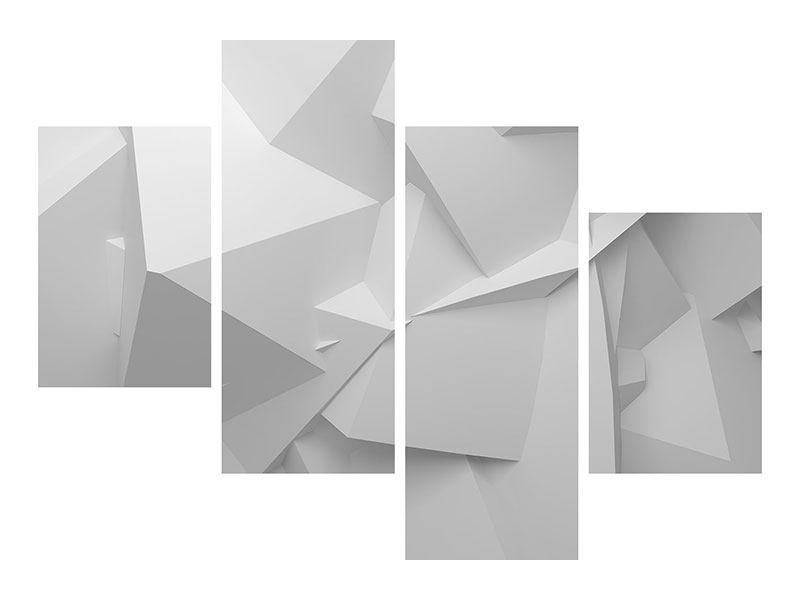 Poster 4-teilig modern 3D-Raster