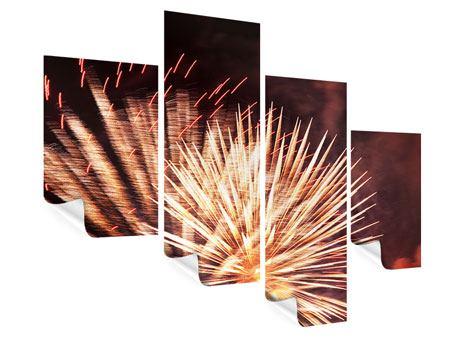 Poster 4-teilig modern Close Up Feuerwerk