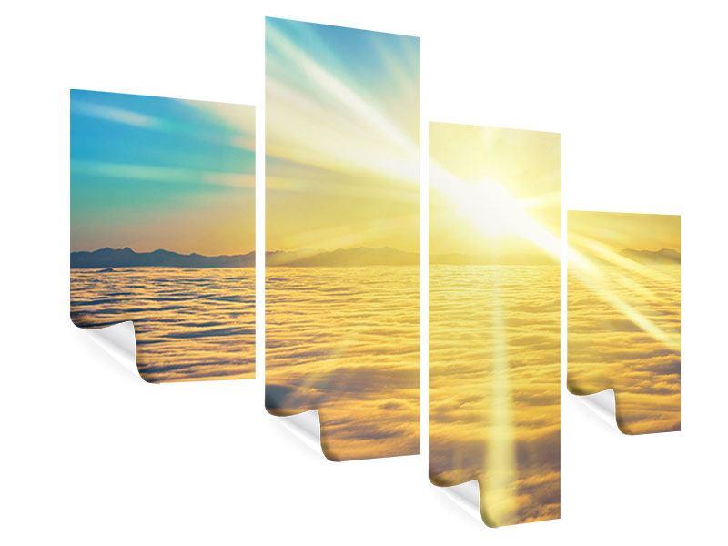 Poster 4-teilig modern Sonnenuntergang über den Wolken