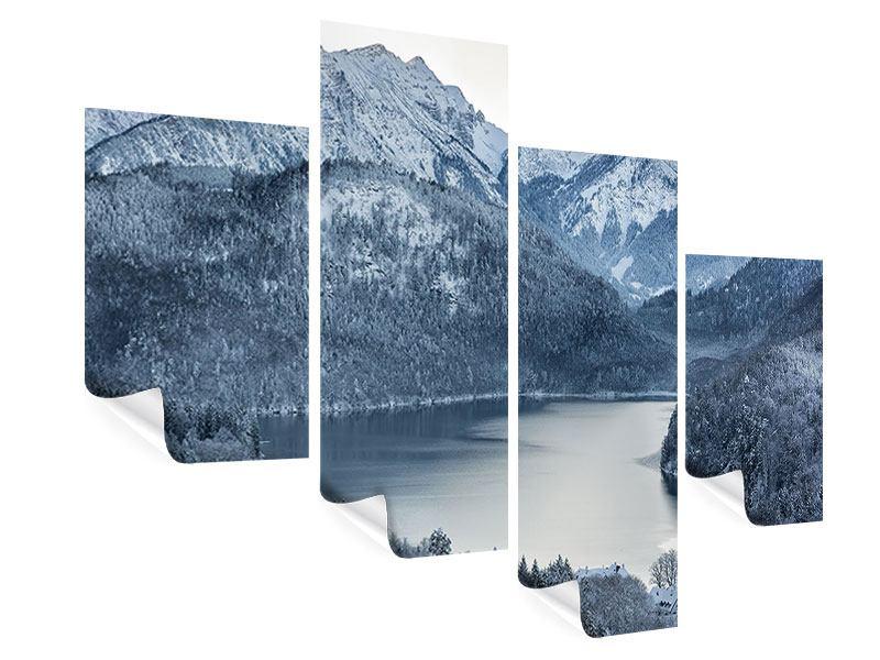 Poster 4-teilig modern Schwarzweissfotografie Berge