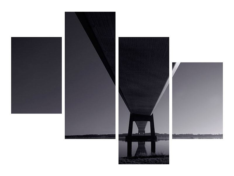 Poster 4-teilig modern Die Brücke über tiefes Wasser