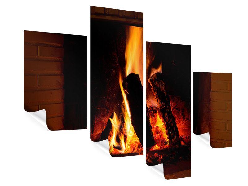 Poster 4-teilig modern Feuer im Kamin