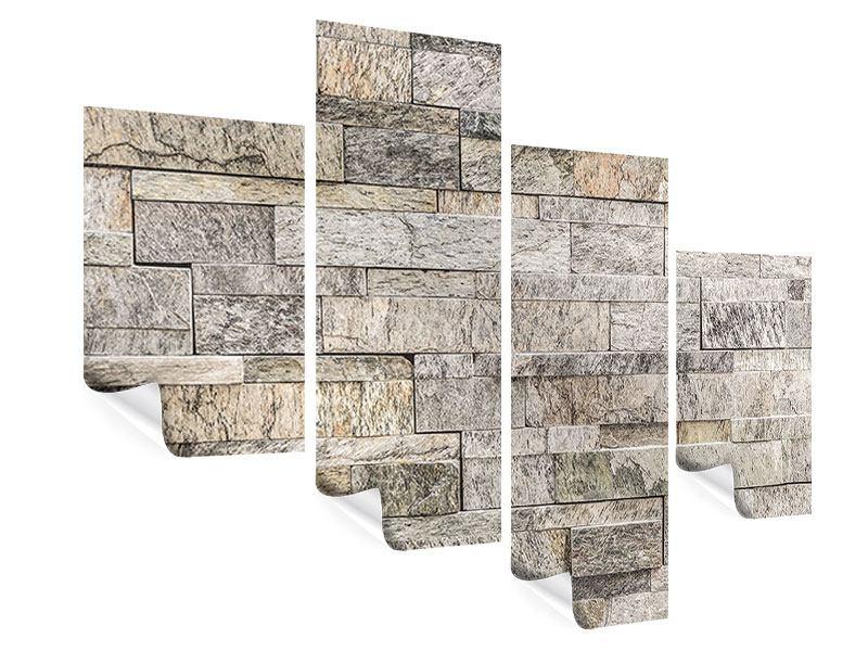 Poster 4-teilig modern Elegante Steinmauer