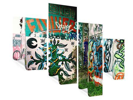Poster 4-teilig modern Graffiti im Hinterhof