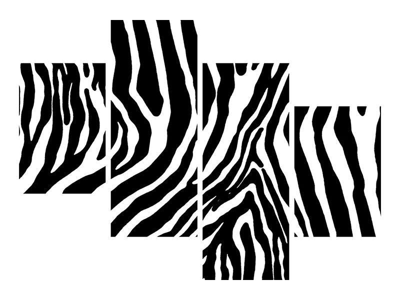 Poster 4-teilig modern Zebramuster
