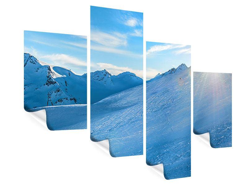 Poster 4-teilig modern Sonnenaufgang in den Bergen