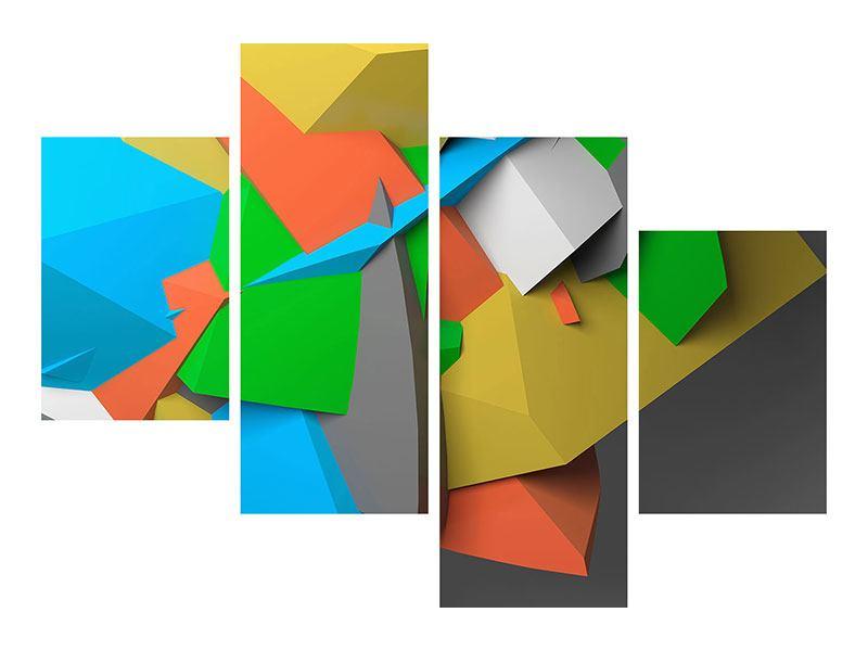 Poster 4-teilig modern 3D-Geometrische Figuren