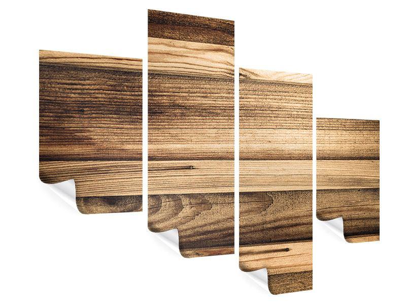 Poster 4-teilig modern Holztrend