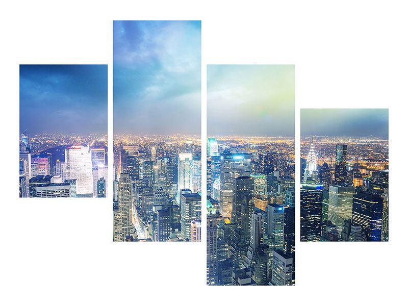 Poster 4-teilig modern Skyline NY bei Sonnenuntergang