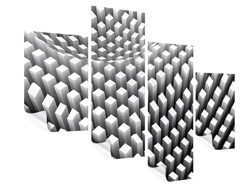 Poster 4-teilig modern 3D-Rasterdesign