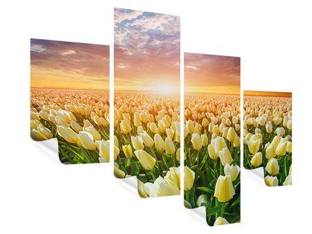 Poster 4-teilig modern Sonnenaufgang bei den Tulpen