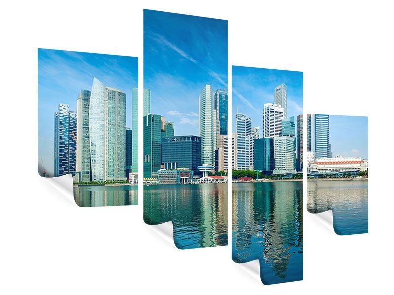 Poster 4-teilig modern Skyline Mexiko-Stadt