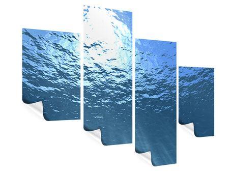 Poster 4-teilig modern Sonnenstrahlen unter Wasser