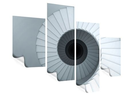 Poster 4-teilig modern 3D Wendeltreppe