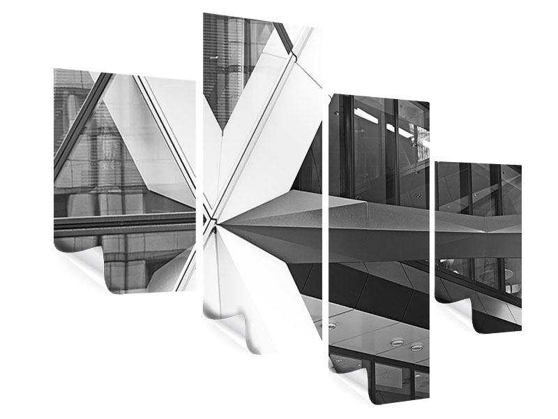 Poster 4-teilig modern Teil eines Wolkenkratzers