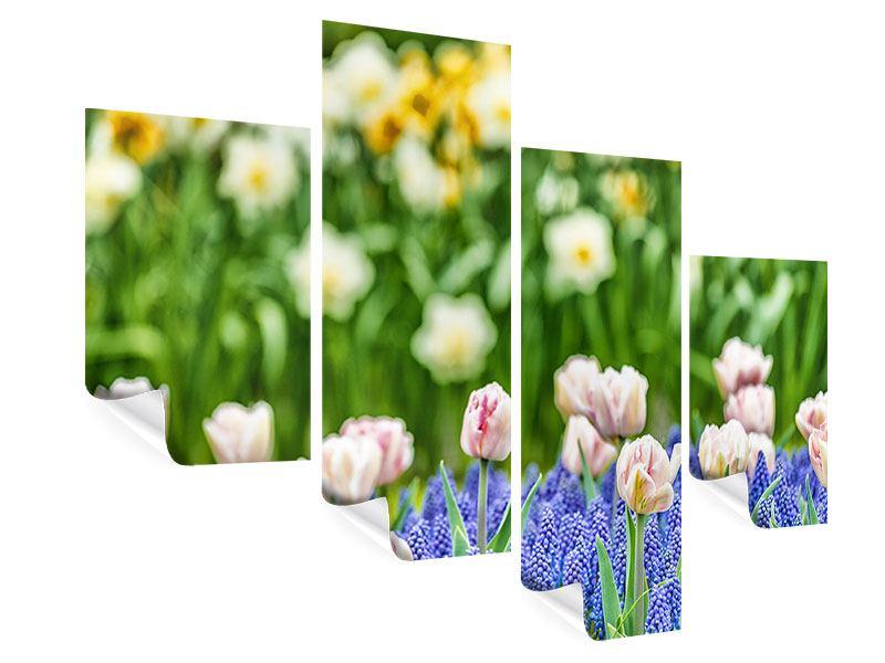 Poster 4-teilig modern Ein Garten mit Tulpen