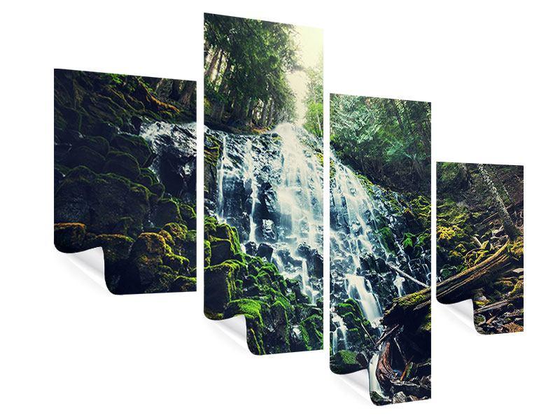 Poster 4-teilig modern Feng Shui & Wasserfall