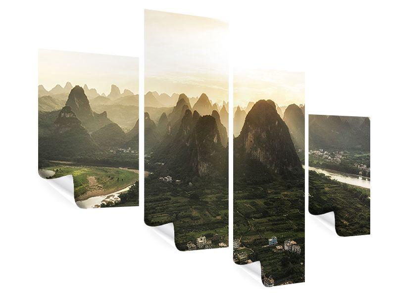Poster 4-teilig modern Die Berge von Xingping