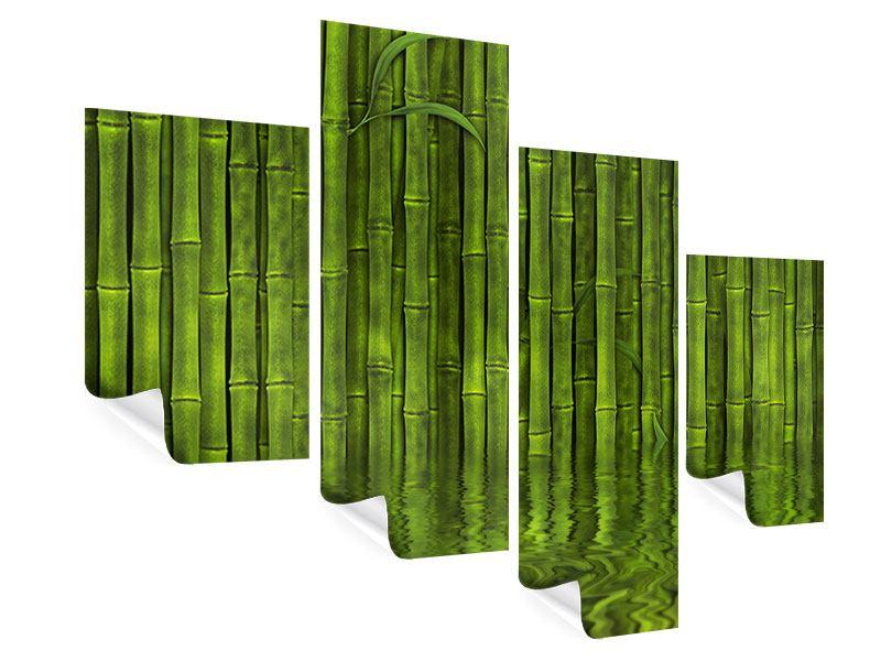 Poster 4-teilig modern Wasserspiegelung Bambus