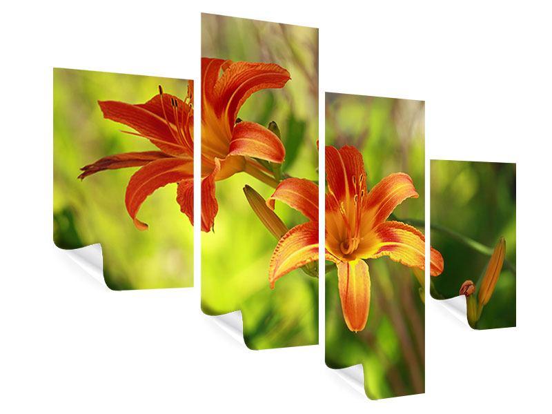 Poster 4-teilig modern Lilien in der Natur